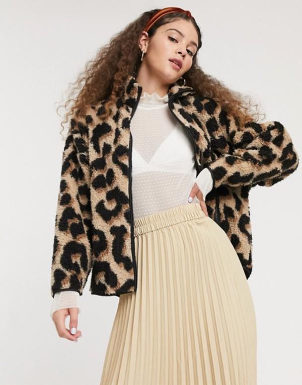 モンキ レディース ジャケット・ブルゾン アウター Monki Gaia fleece jacket in leopard print Leopard print