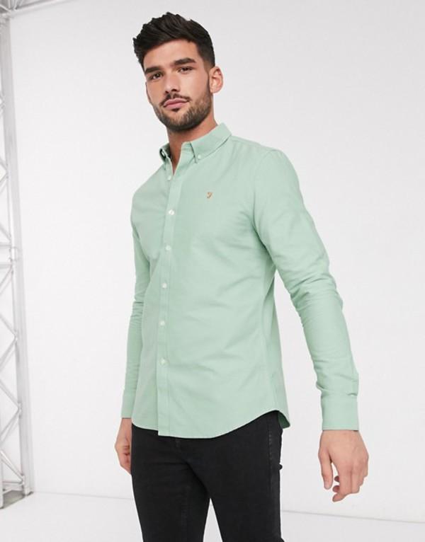 ファーラー メンズ シャツ トップス Farah Brewer slim long sleeve shirt Green