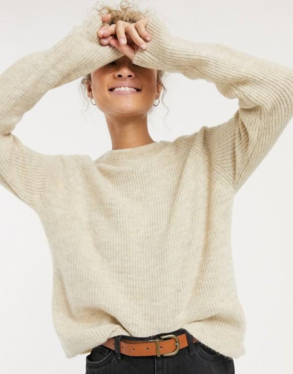 ピーシーズ レディース ニット・セーター アウター Pieces knitted sweater in beige White pepper