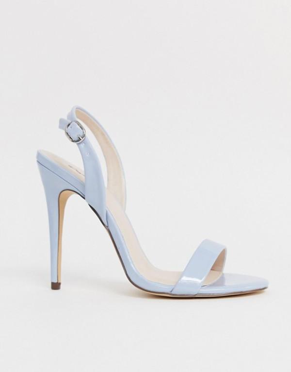キューピッド レディース サンダル シューズ Qupid leopard slingback barely there heeled sandals Powder blue