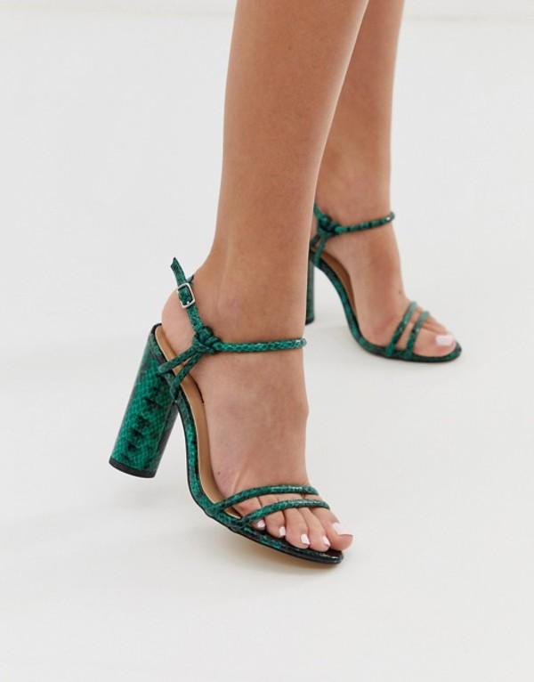 ロンドンレベル レディース サンダル シューズ London Rebel strappy snake block heeled sandals Green snake