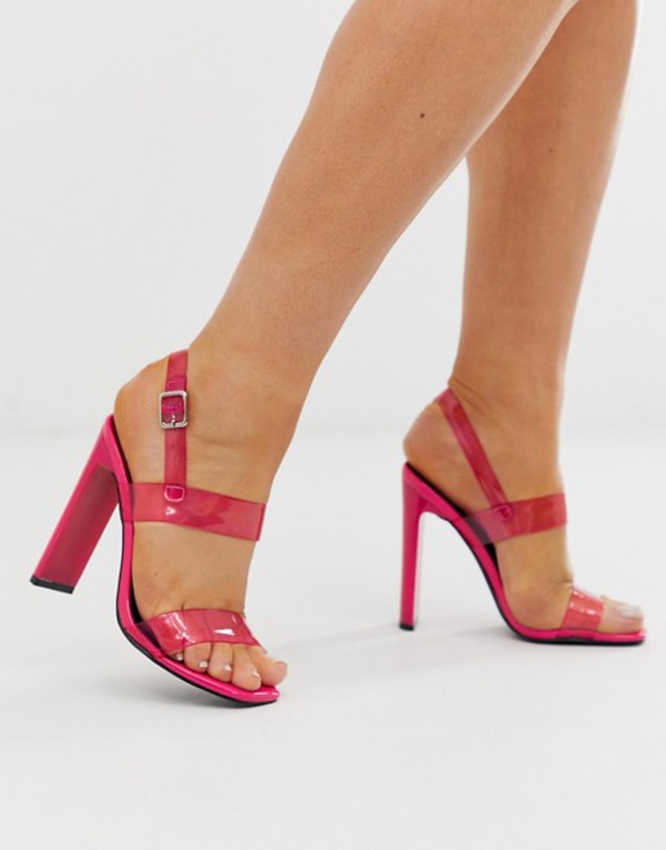 トリュフコレクション レディース サンダル シューズ Truffle Collection neon clear strap heeled sandals Pink