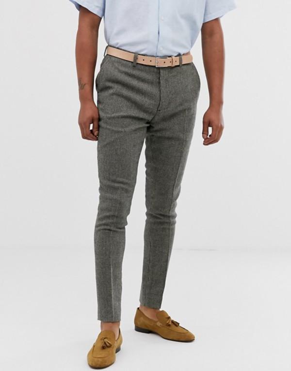 エイソス メンズ カジュアルパンツ ボトムス ASOS DESIGN super skinny smart pants in gray dog tooth Gray