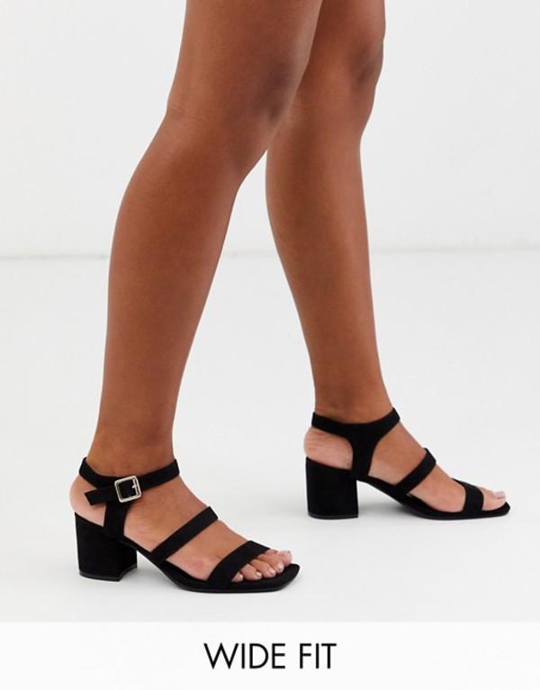 ロンドンレベル レディース サンダル シューズ London Rebel wide fit block heel strappy sandals Black