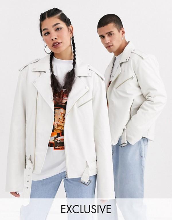 リクレイム ヴィンテージ メンズ ジャケット・ブルゾン アウター Reclaimed Vintage unisex PU biker jacket Off white