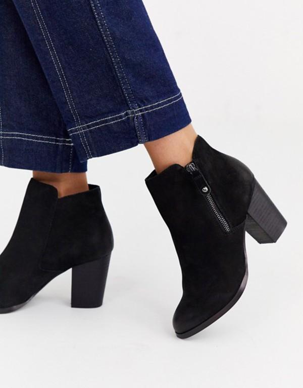 アルド レディース ブーツ・レインブーツ シューズ ALDO Naedia side zip round toe kitten heel boot Black nubuck leather
