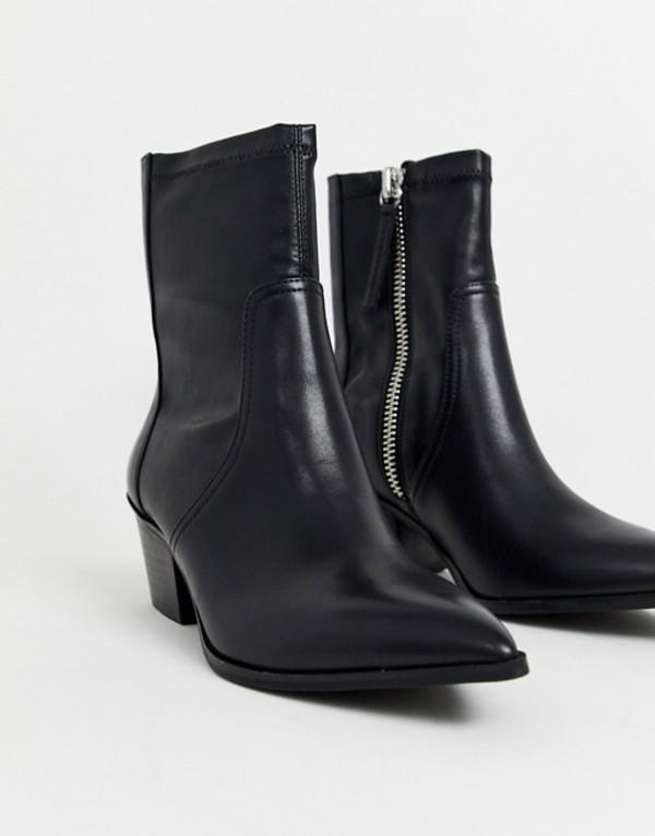 アルド レディース ブーツ・レインブーツ シューズ ALDO Batis stretch leather western sock boot Black
