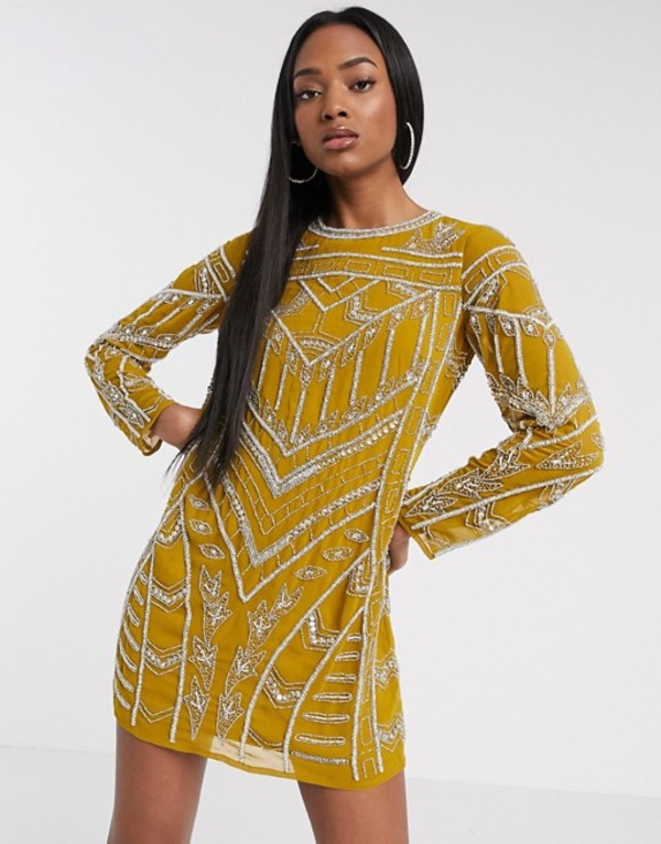 エイソス レディース ワンピース トップス ASOS DESIGN chandelier embellished mini shift dress Mustard