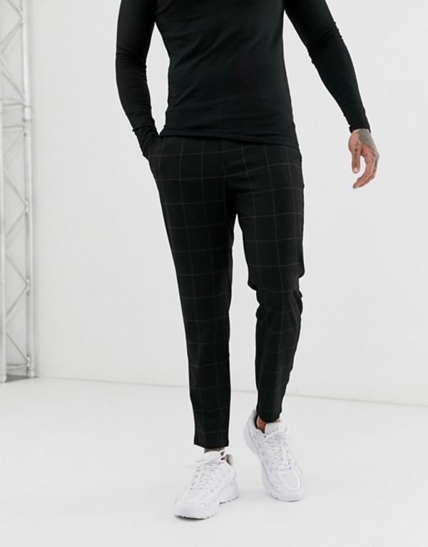 ベルシュカ メンズ カジュアルパンツ ボトムス Bershka skinny cropped pants in light black check Black