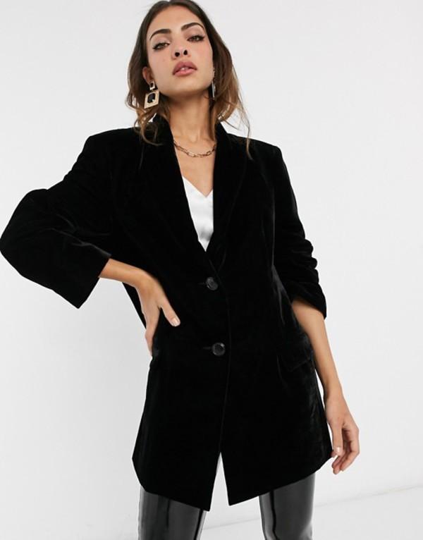 エイソス レディース ジャケット・ブルゾン アウター ASOS DESIGN velvet oversized dad blazer Black