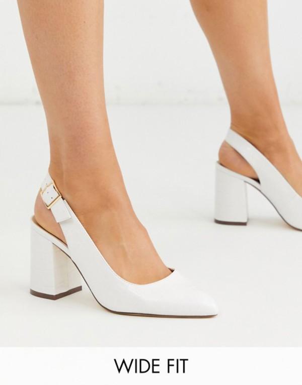 ロンドンレベル レディース ヒール シューズ London Rebel wide fit sling back block heel in white White croc