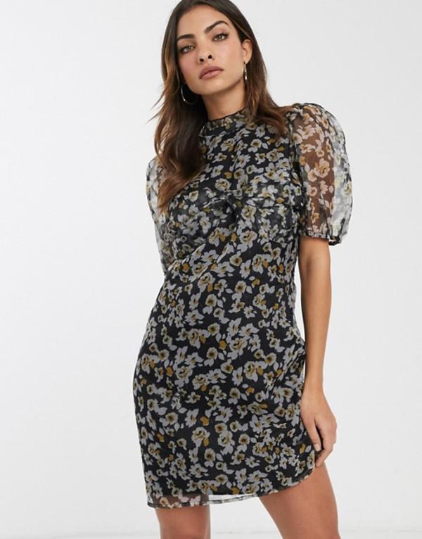 エイソス レディース ワンピース トップス ASOS DESIGN floral organza mini dress with puff sleeves Dark based floral