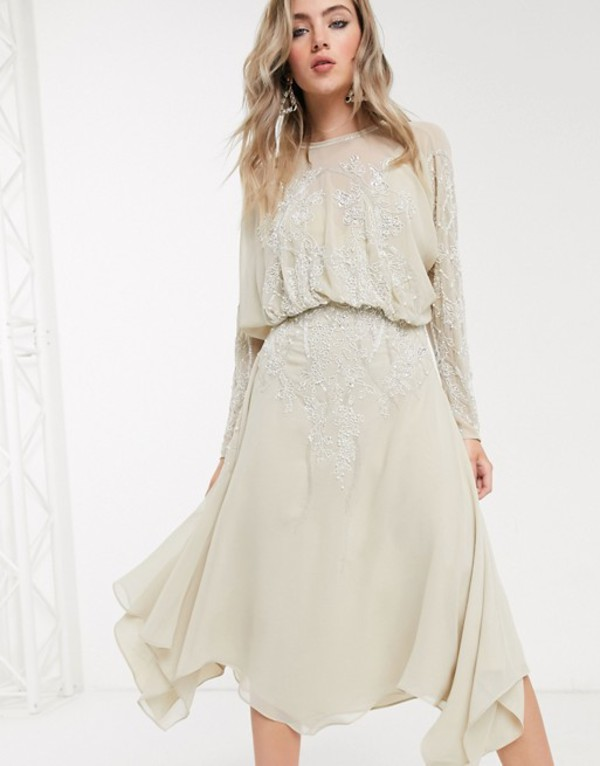 エイソス レディース ワンピース トップス ASOS DESIGN blouson long sleeve midi dress in embellishment Beige