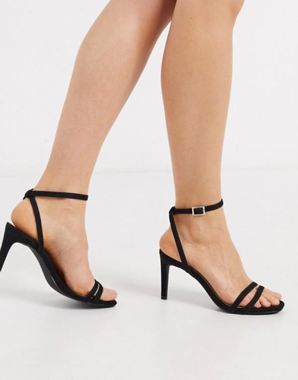 トリュフコレクション レディース サンダル シューズ Truffle Collection square toe strappy heeled sandals in black Black