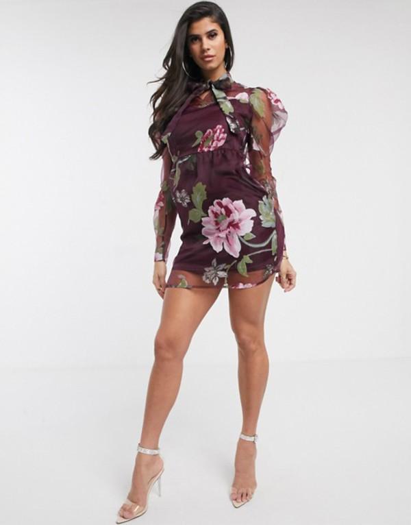 プリティリトルシング レディース ワンピース トップス PrettyLittleThing organza mini dress with puff sleeves in dark purple floral Multi