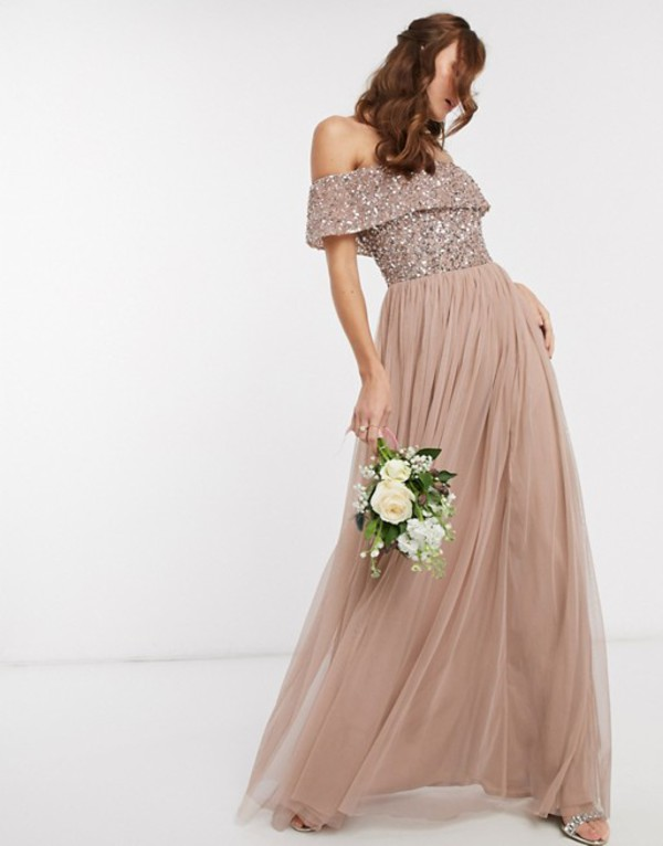 マヤ レディース ワンピース トップス Maya Bridesmaid bardot maxi tulle dress with tonal delicate sequins in taupe blush Taupe blush