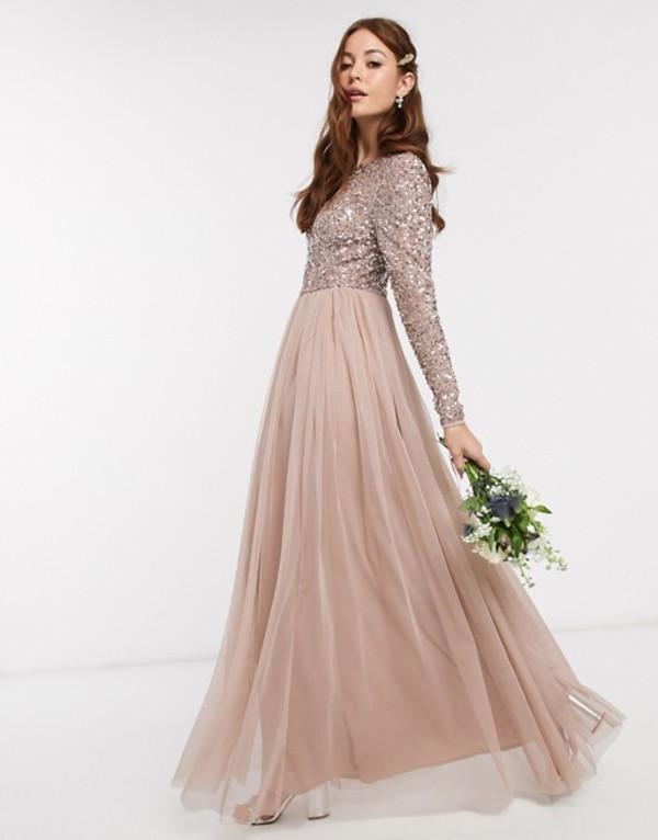 マヤ レディース ワンピース トップス Maya Bridesmaid long sleeve v back maxi tulle dress with tonal delicate sequin in taupe blush Taupe blush