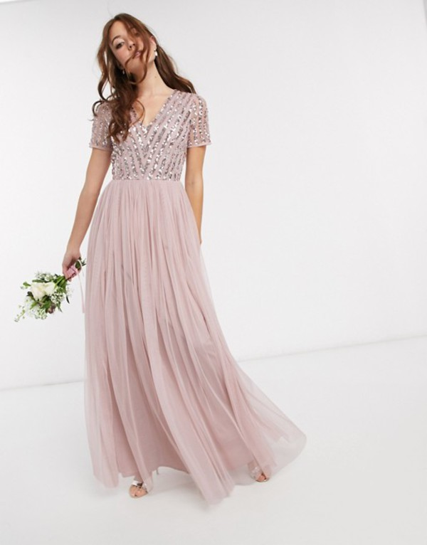 マヤ レディース ワンピース トップス Maya Bridesmaid v neck maxi dress with tonal delicate sequin in pink Blush pink
