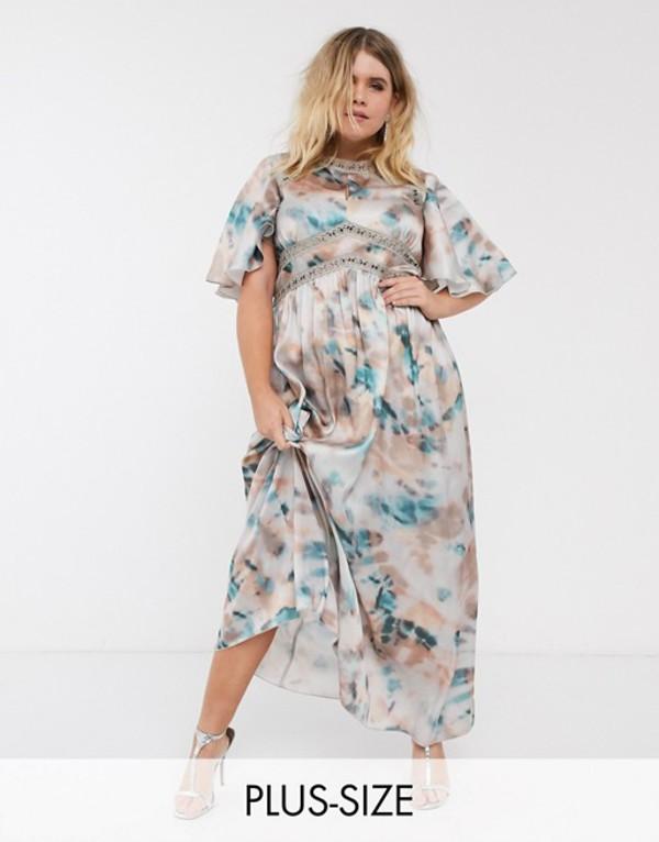 リトルミストレス レディース ワンピース トップス Little Mistress Plus lace insert maxi dress in marble print Multi