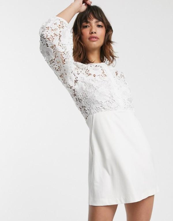 フレンチコネクション レディース ワンピース トップス French Connection round neck button down lace mini dress Summer white