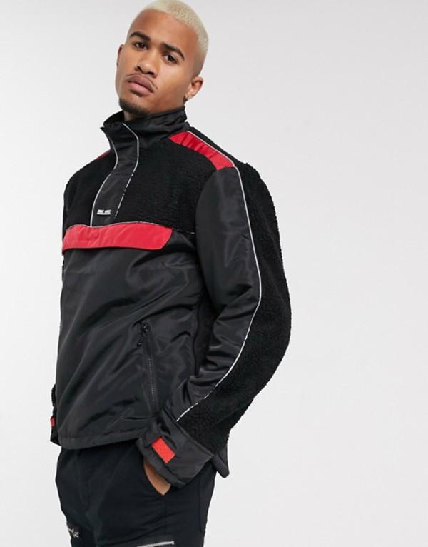 ナイト アディクト メンズ ジャケット・ブルゾン アウター Night Addict borg paneled overhead jacket Black