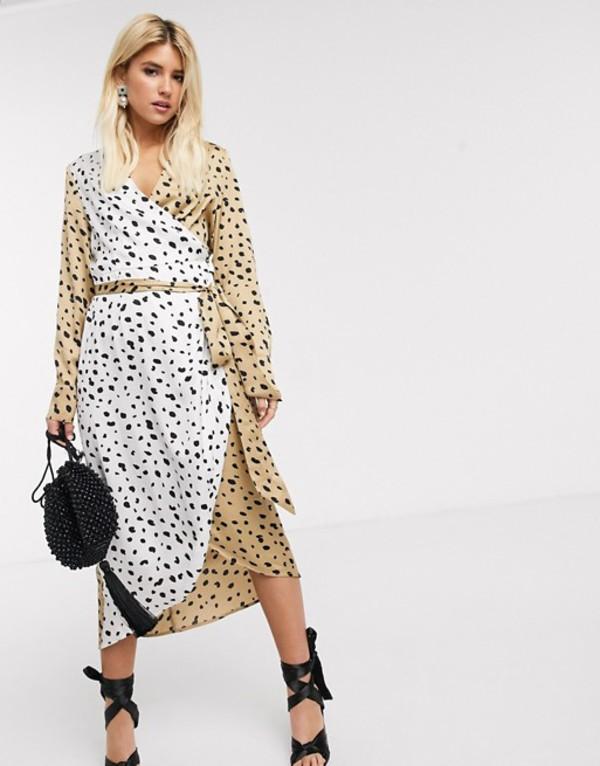 ネバーフリードレスド レディース ワンピース トップス Never Fully Dressed wrap midi dress with belt in contrast leopard Multi