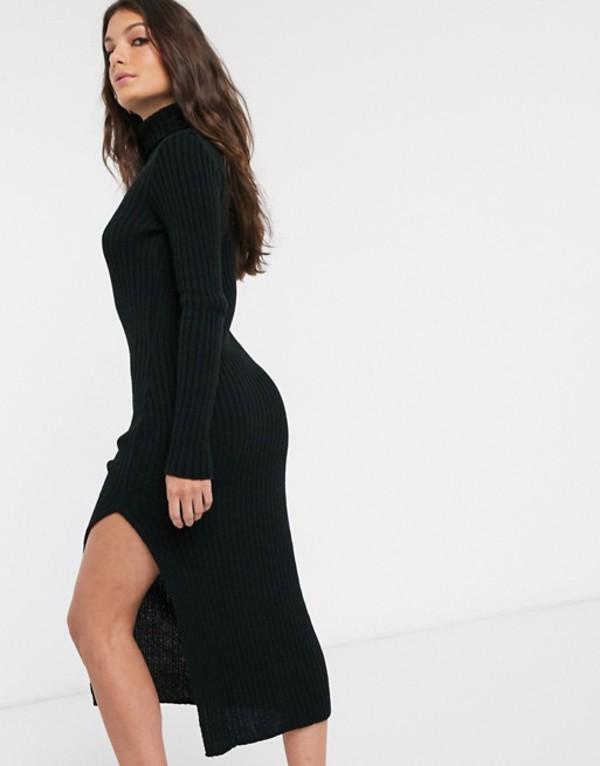 エイソス レディース ワンピース トップス ASOS DESIGN chunky roll neck midi dress with splits Black