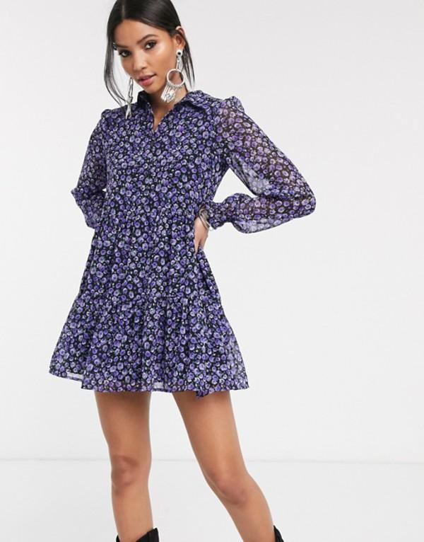 ベルシュカ レディース ワンピース トップス Bershka floral shirt dress in purple Purple