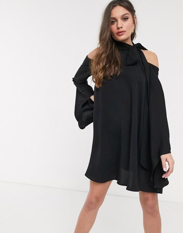 ジョンザック レディース ワンピース トップス John Zack Petite high neck cold shoulder swing dress in black Black