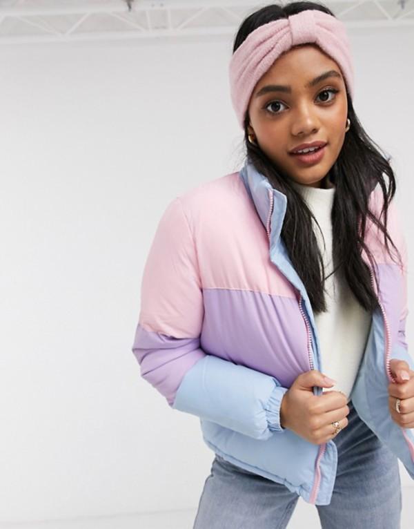 ブレーブソウル レディース コート アウター Brave Soul remix padded coat in pastel color block Pink/lilac/blue