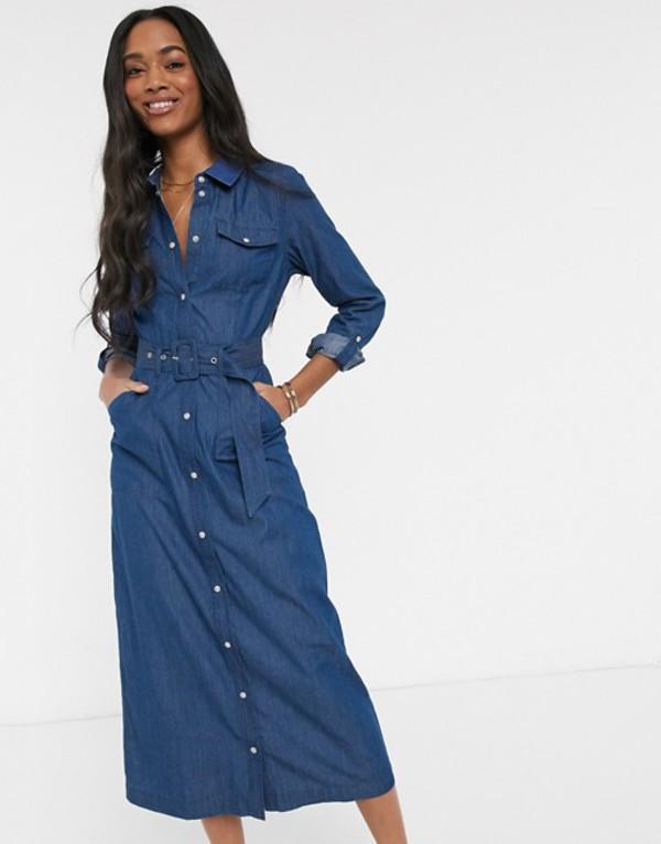 ウエアハウス レディース ワンピース トップス Warehouse denim belted midi shirt dress in blue Blue