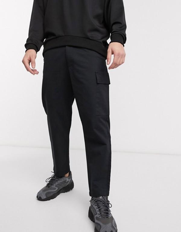 プルアンドベアー メンズ カジュアルパンツ ボトムス Pull&Bear slim fit chino with pockets in black Black