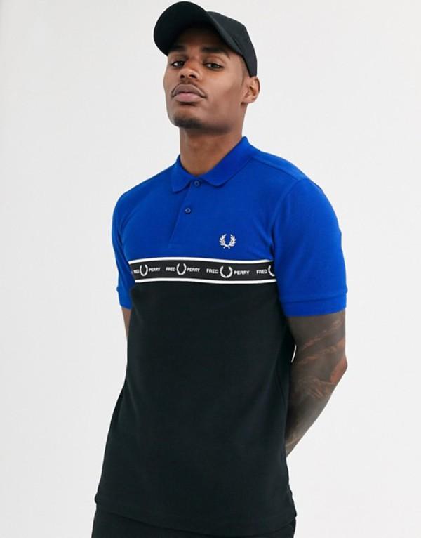 フレッドペリー メンズ ポロシャツ トップス Fred Perry logo taping polo shirt in blue Bright regal