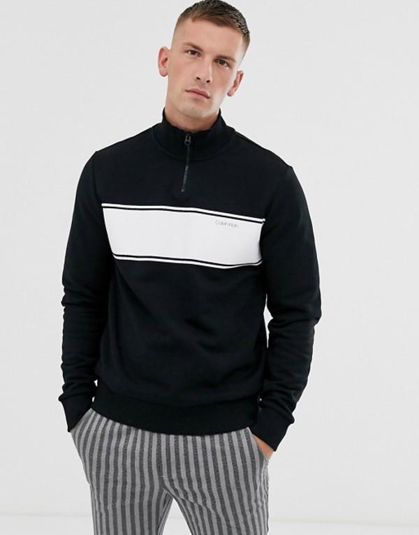 カルバンクライン メンズ パーカー・スウェット アウター Calvin Klein half zip sweatshirt with chest stripe in black Calvin black