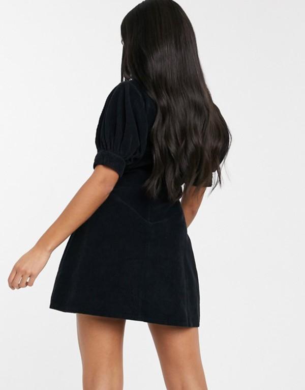 エイソス レディース ワンピース トップス ASOS DESIGN cord plunge neck puff sleeve mini dress in black BlackuTFJcl3K1