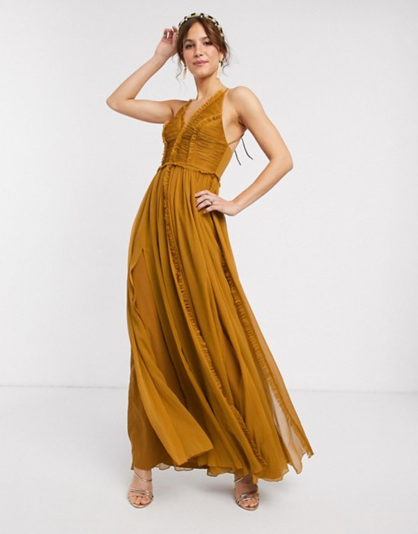 エイソス レディース ワンピース トップス ASOS DESIGN ruched bodice soft cami maxi dress with raw edge detail Tan