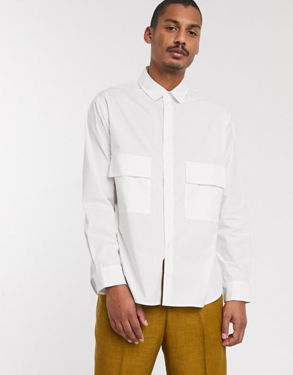 エイソス メンズ シャツ トップス ASOS WHITE extreme oversized shirt with chest pockets White
