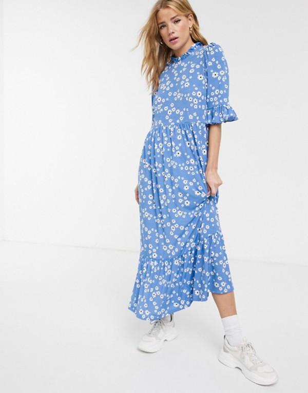 エイソス レディース ワンピース トップス ASOS DESIGN smock maxi dress in blue daisy print Blue daisy