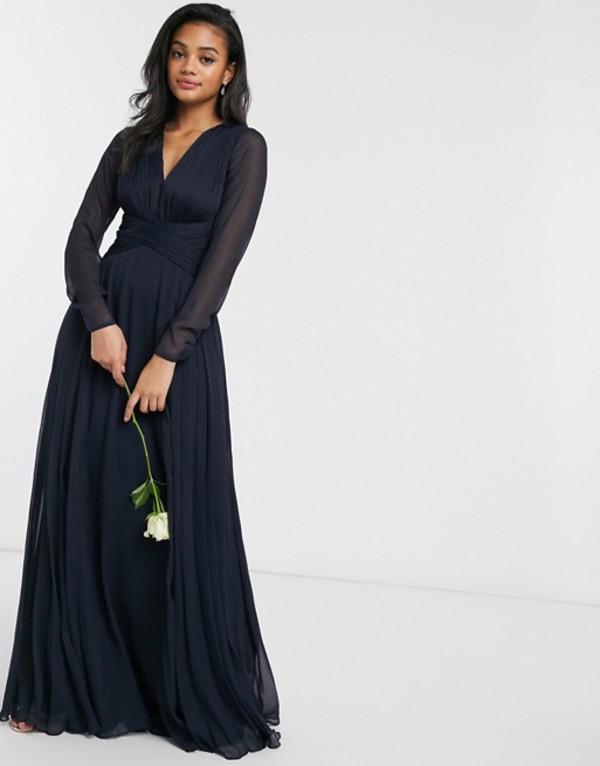エイソス レディース ワンピース トップス ASOS DESIGN Bridesmaid ruched waist maxi dress with long sleeves and pleat skirt Navy
