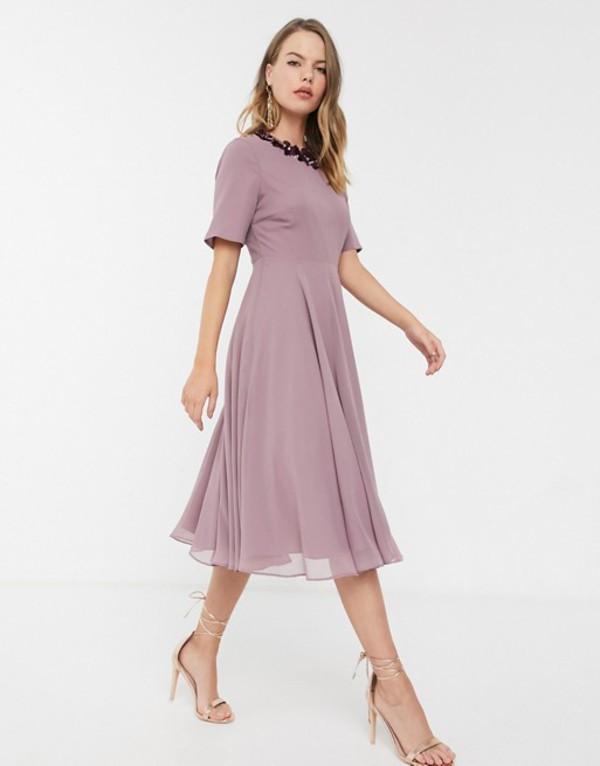 エイソス レディース ワンピース トップス ASOS DESIGN crop top embellished neckline midi dress Mink