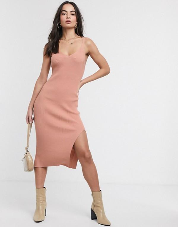 エイソス レディース ワンピース トップス ASOS DESIGN v neck cami dress in slinky knit Cosmetic blush