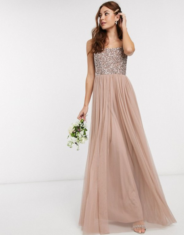 マヤ レディース ワンピース トップス Maya Bridesmaid sleeveless square neck maxi tulle dress with tonal delicate sequin overlay in taupe blush Taupe blush