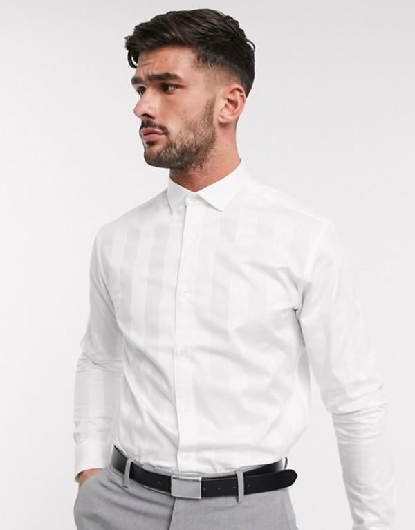 ジャック アンド ジョーンズ メンズ シャツ トップス Jack & Jones Premium satin tonal stripe smart shirt in white Blanc de blanc