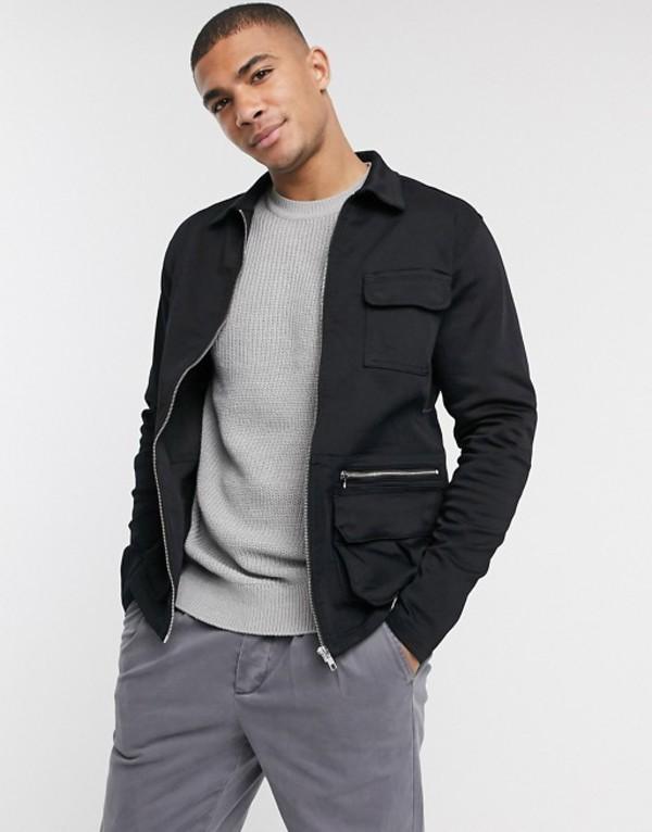 ジャック アンド ジョーンズ メンズ ジャケット・ブルゾン アウター Jack & Jones Intelligence utility jacket in black Black denim