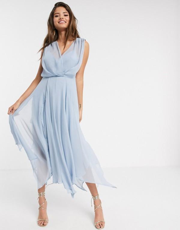 エイソス レディース ワンピース トップス ASOS DESIGN wrap bodice midi dress with drape back Blue