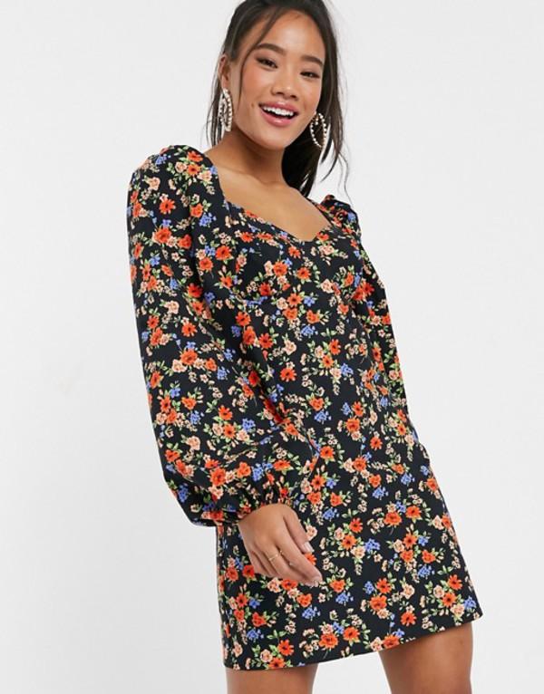 エイソス レディース ワンピース トップス ASOS DESIGN cotton mini dress with puff sleeves in ditsy floral Dark based floral
