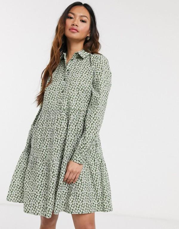 ピーシーズ レディース ワンピース トップス Pieces smock shirt mini dress in ditsy floral print Multi