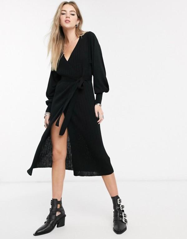 エイソス レディース ワンピース トップス ASOS DESIGN knitted wrap dress with volume sleeve Black