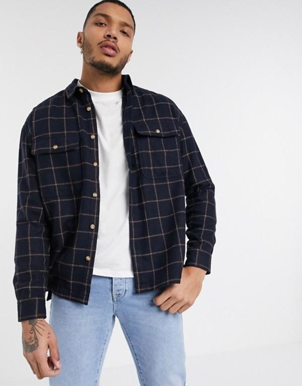 エイソス メンズ シャツ トップス ASOS DESIGN wool mix check overshirt in navy brushed flannel Navy