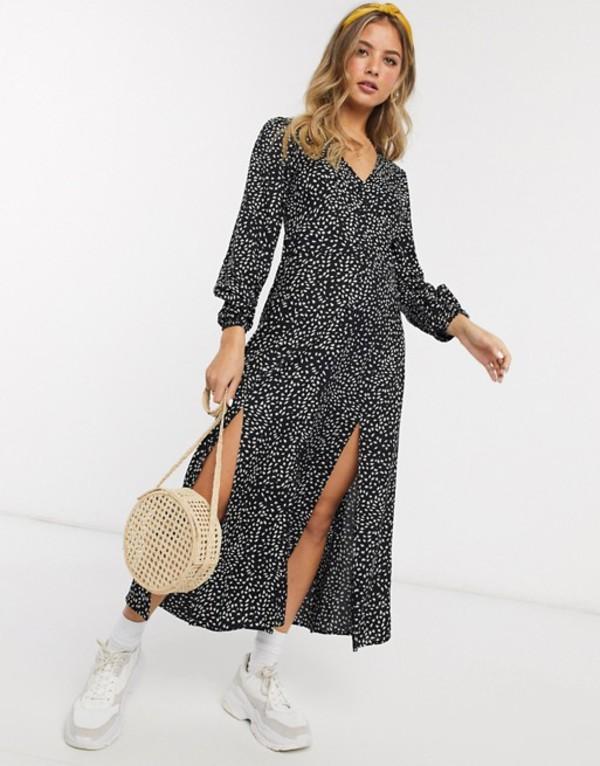 ミスセルフフリッジ レディース ワンピース トップス Miss Selfridge maxi tea dress in black print Black